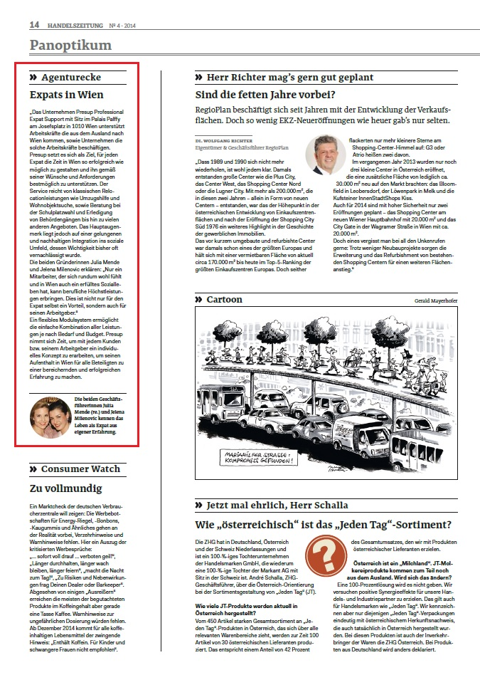 PRESUP in the Handelszeitung